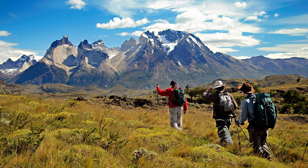 hiking towards torres paine chile