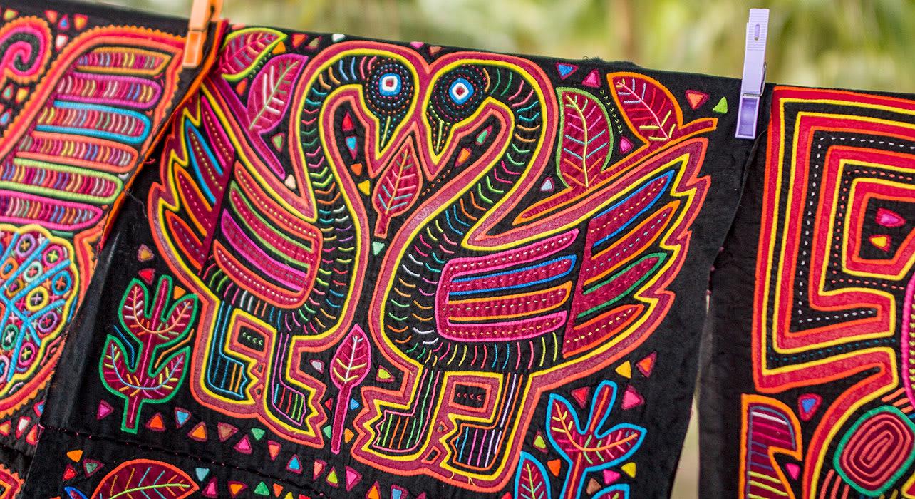 colombia guna yala traditional weaving tapestry