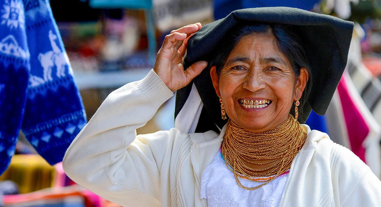 quito ecuador woman at market