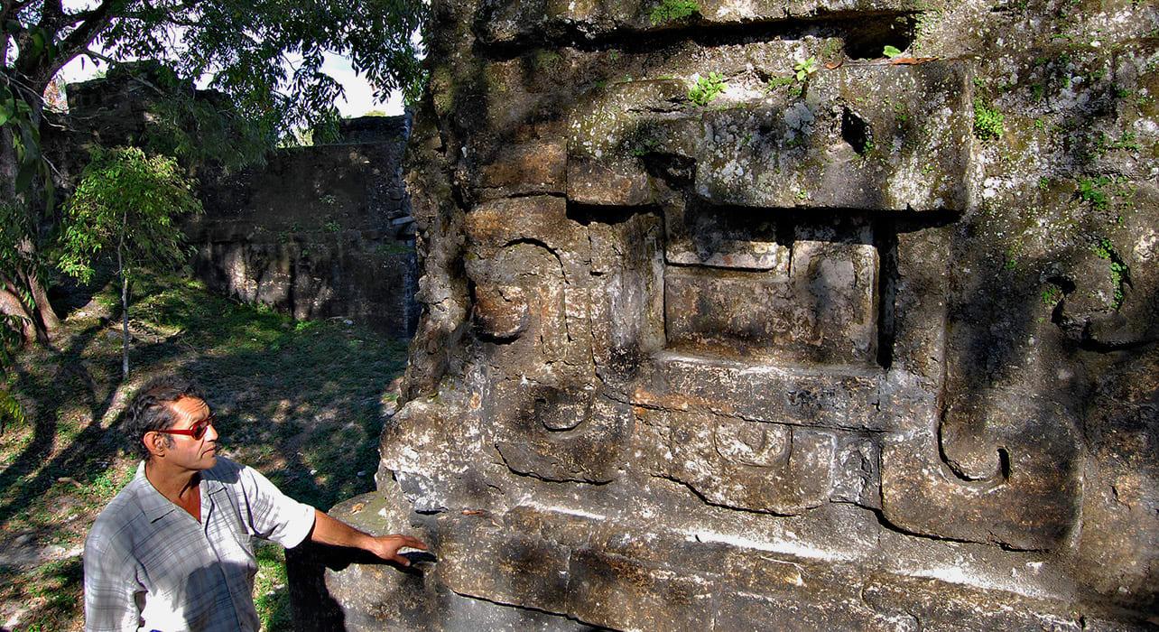6 slide tikal jaguar carving stone ruins pano