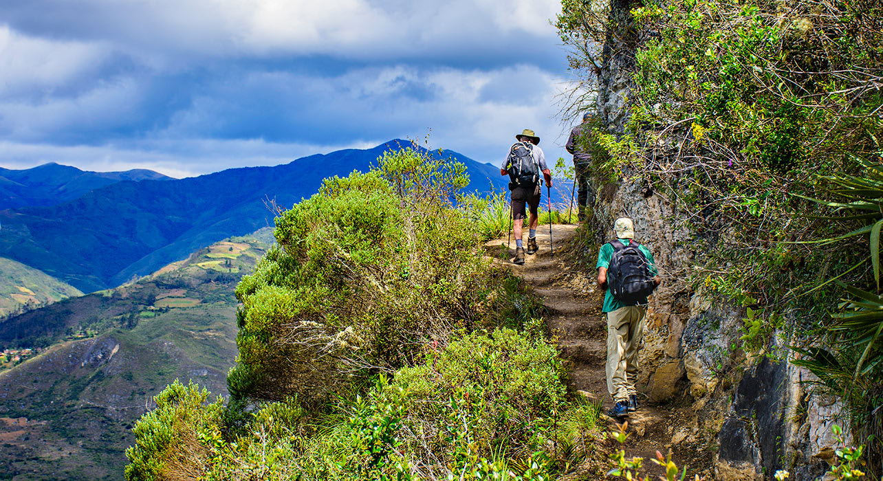 chachapoyas hikers views hills peru