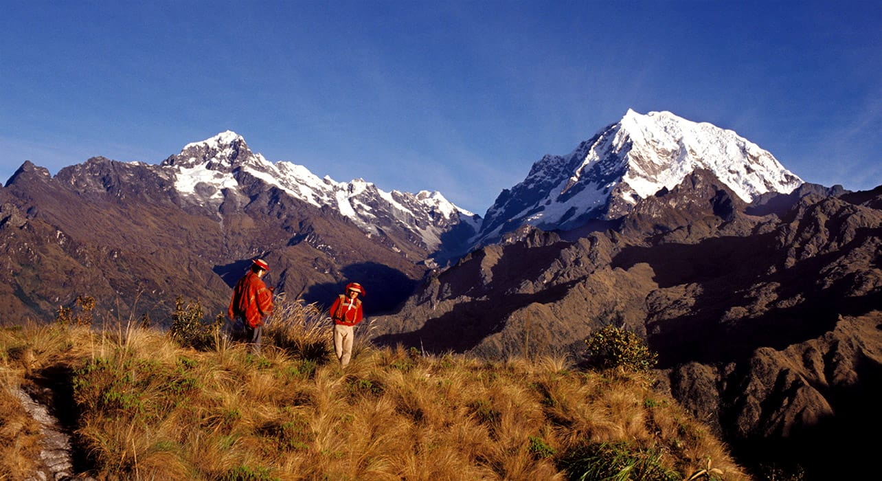 peruvian men along inca trail