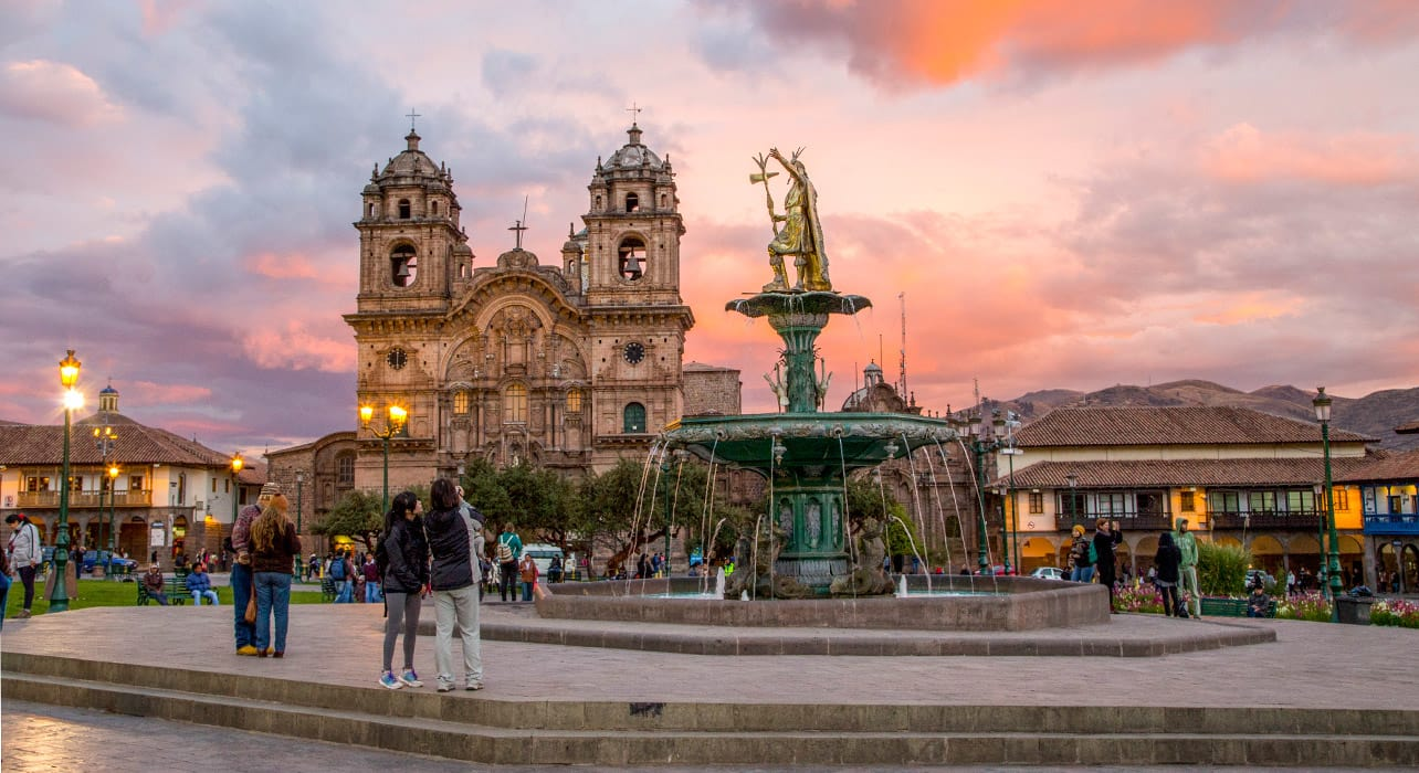 peru cusco plaza de armas sunset evening