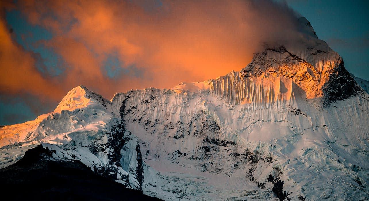nevado huandoy peak cordillera blanca from yungay
