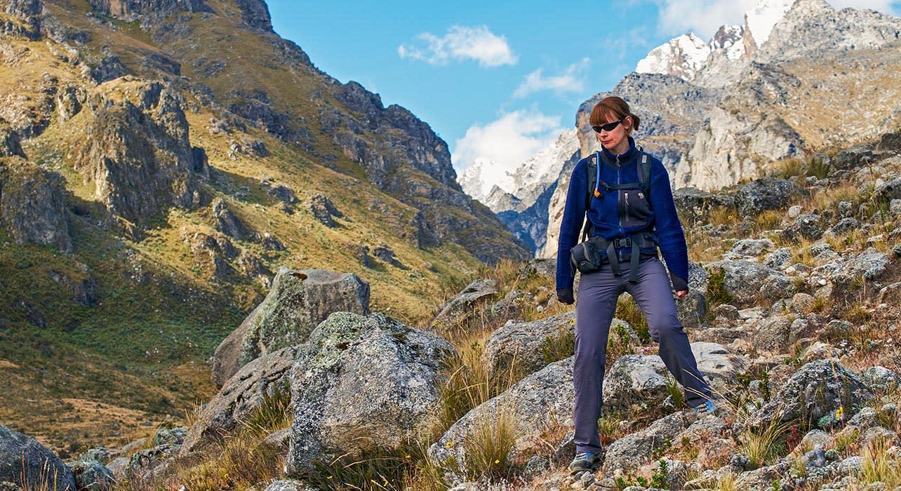 below churup andes cojup valley in peru hiker woman