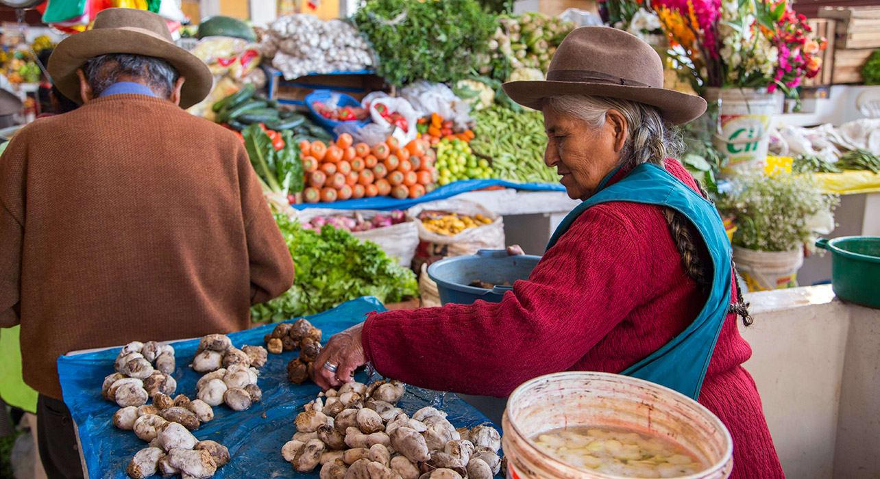 3 slide market peruvian woman with potatoes pano