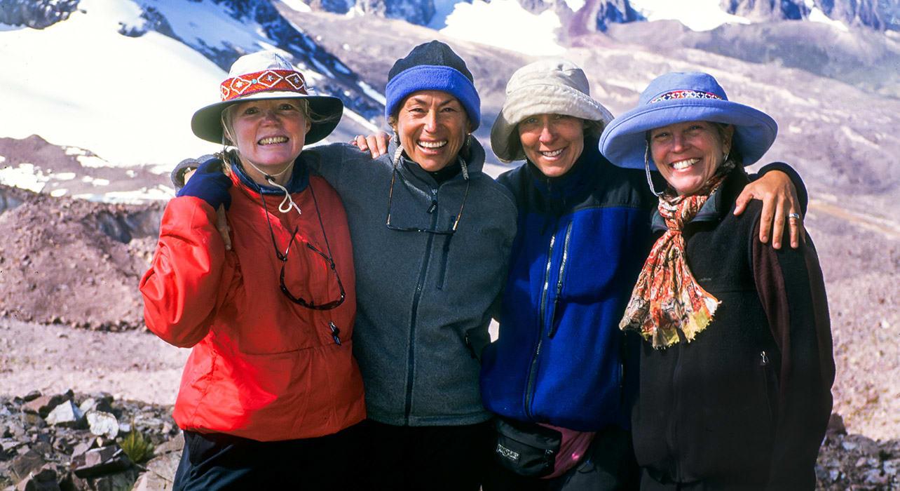 group of women hikers cordillera peru