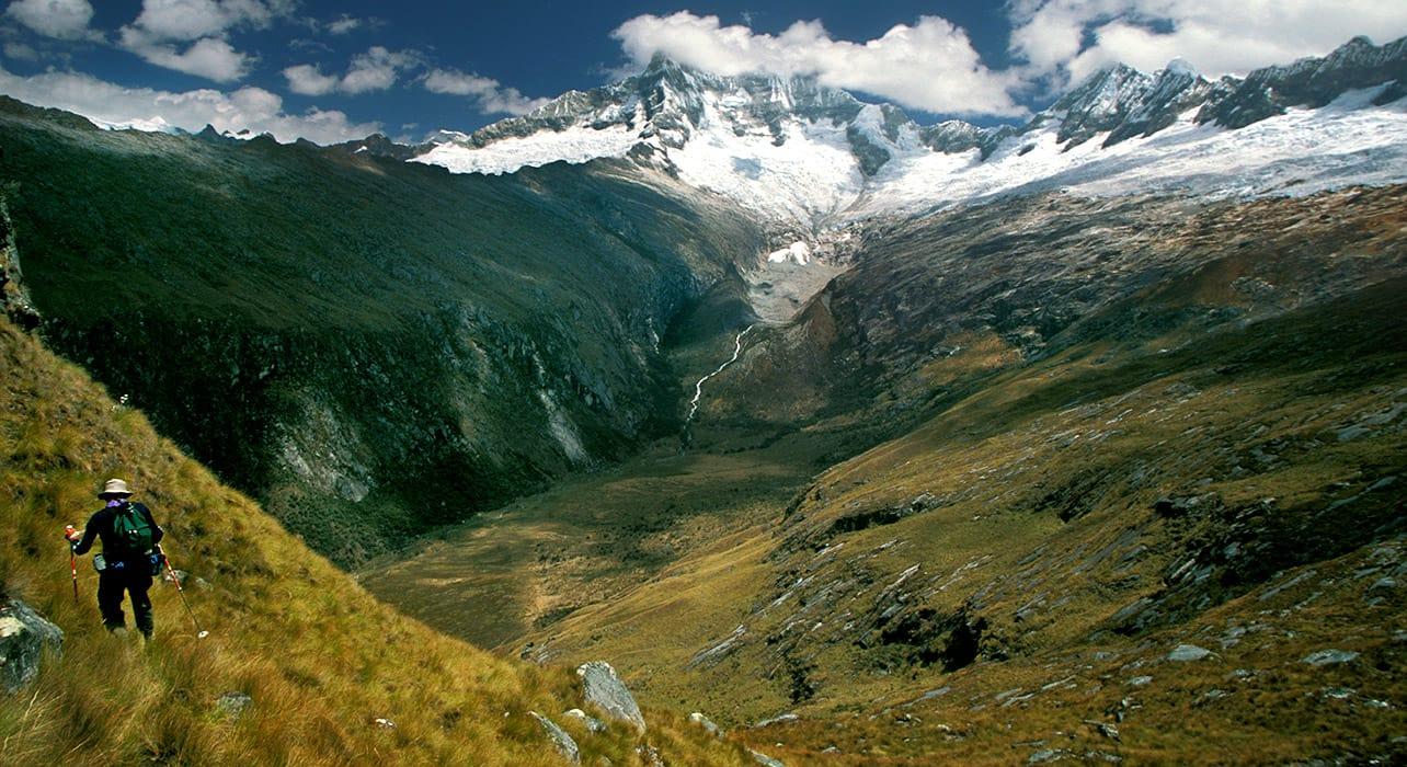 cordillera blanca peru hiker glacial valley