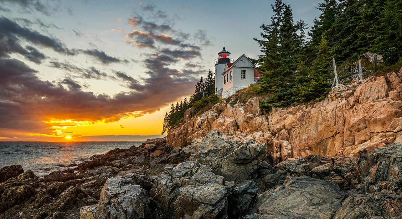 maine acadia natl park bass harbor lighthouse sunset