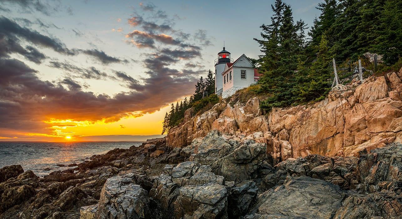 maine acadia natl park bass harbor lighthouse sunset