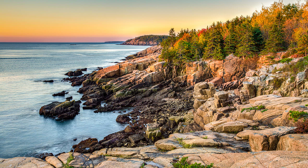 maine acadia natl park coastline sunset