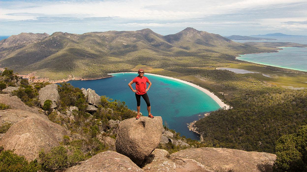 australia tasmania woman at wineglass bay view