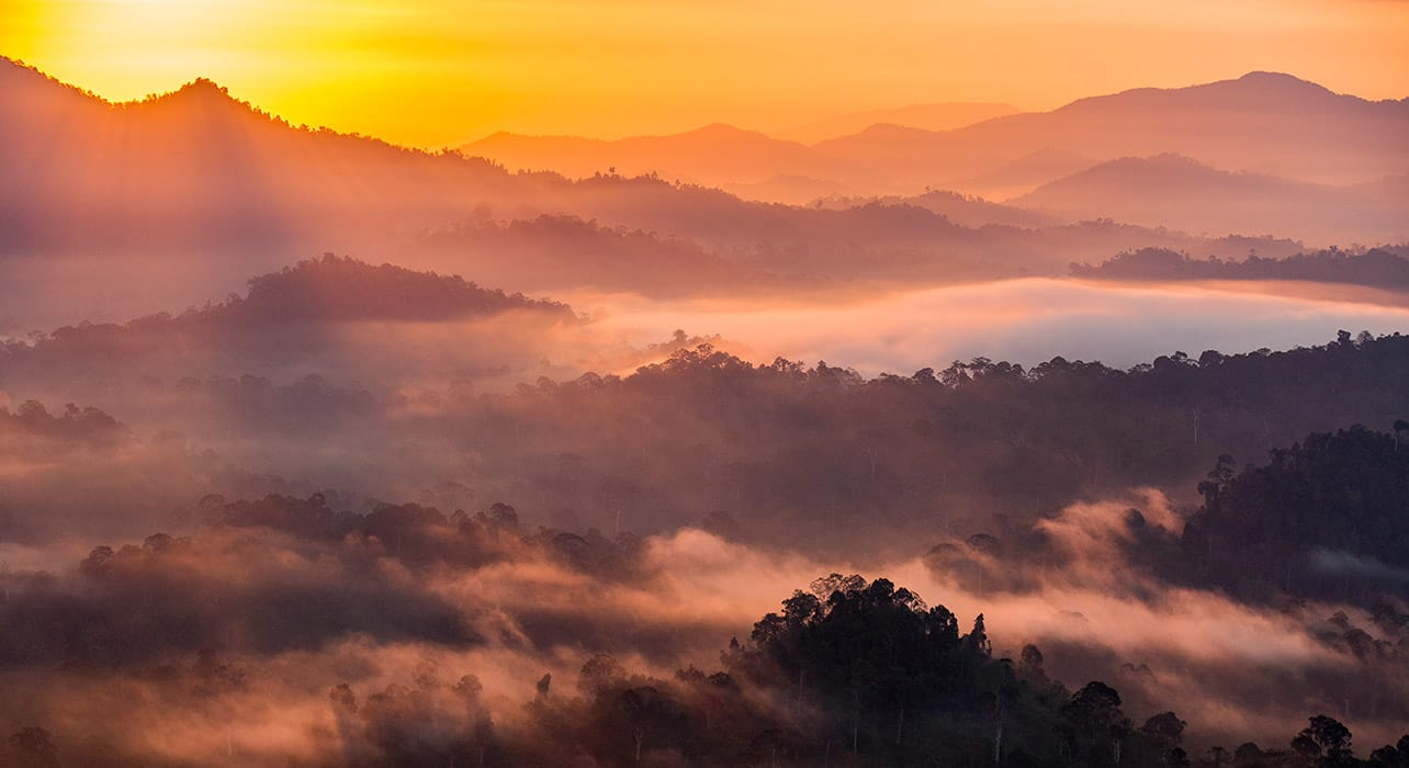borneo sunrise over forest mountains