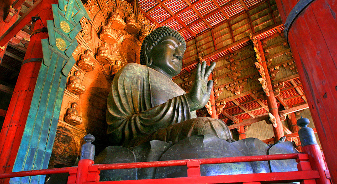 buddha statue in yakushi ji temple in nara