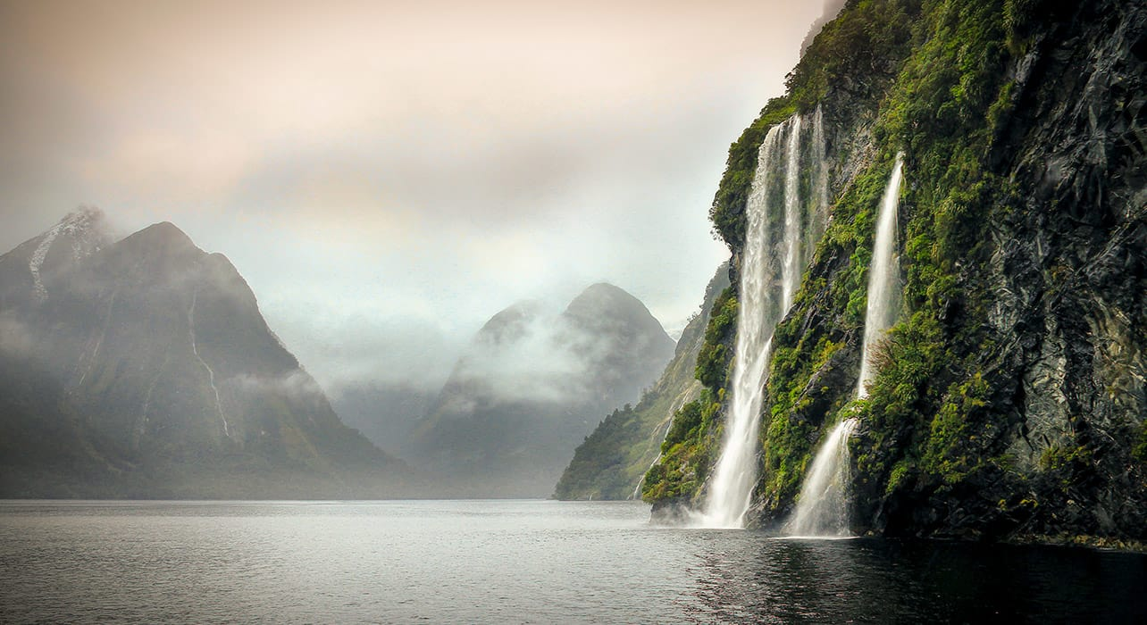 new zealand doubtful sound waterfalls