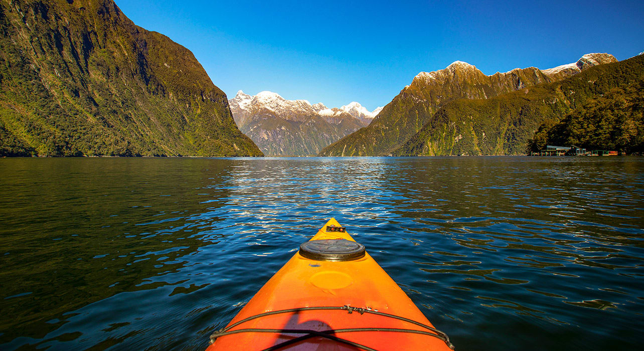 new zealand milford sound kayaker
