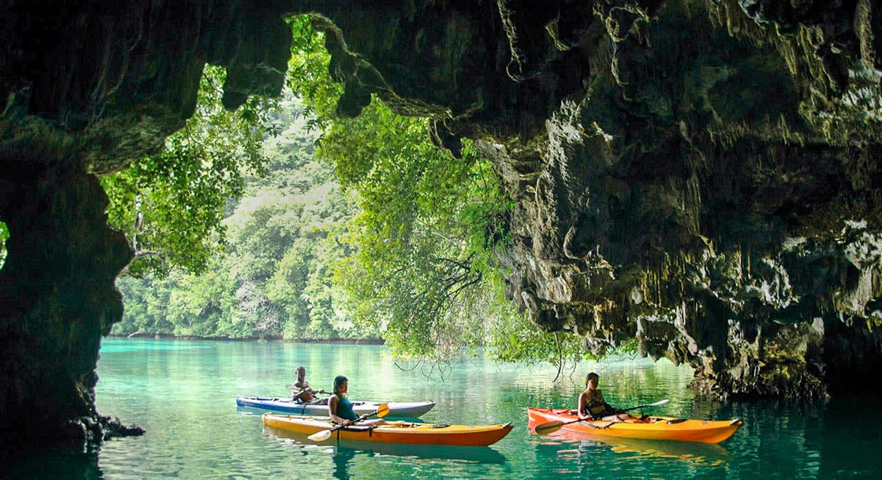 palau kayaking cathedral cave