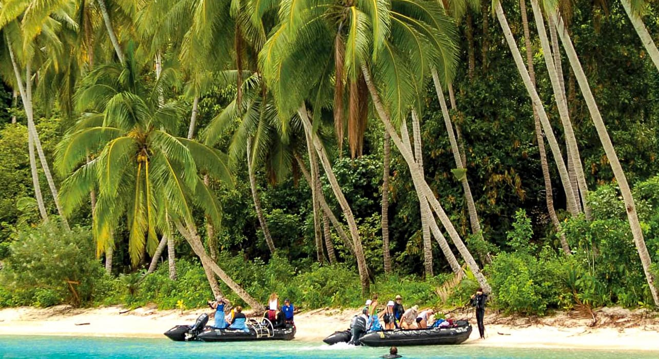 melanesia solomon islands papuang zodiacs landing