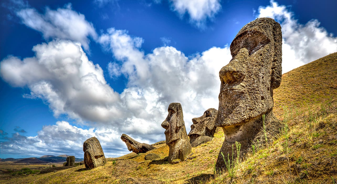 easter island moai stone carvings