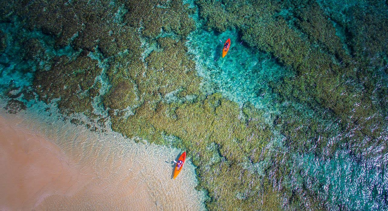 tonga couple kayak beach reef pacific ocean