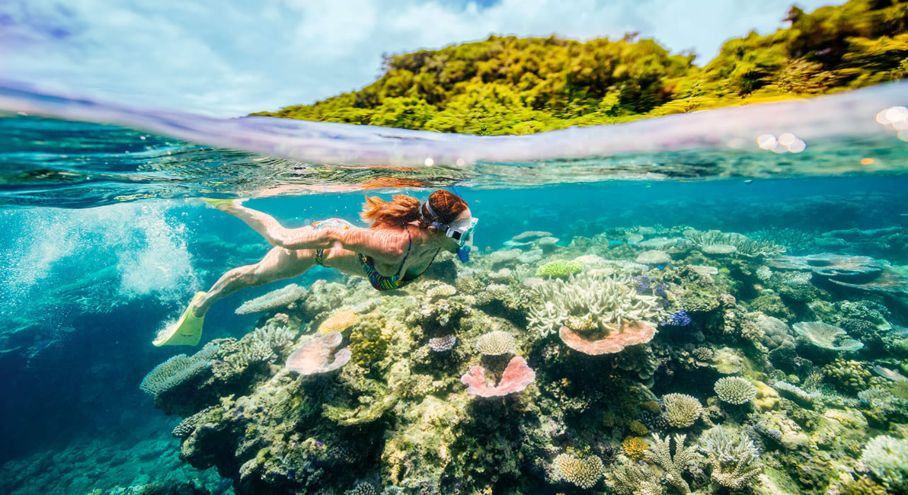 vanuatu woman snorkeling coral reef