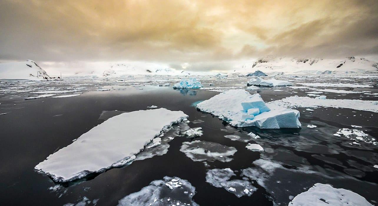 antarctica icebergs sunset grey