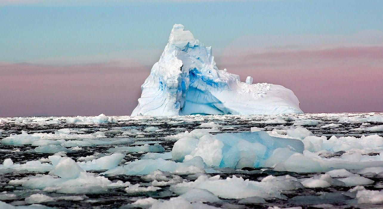 antarctica sunset ice floe