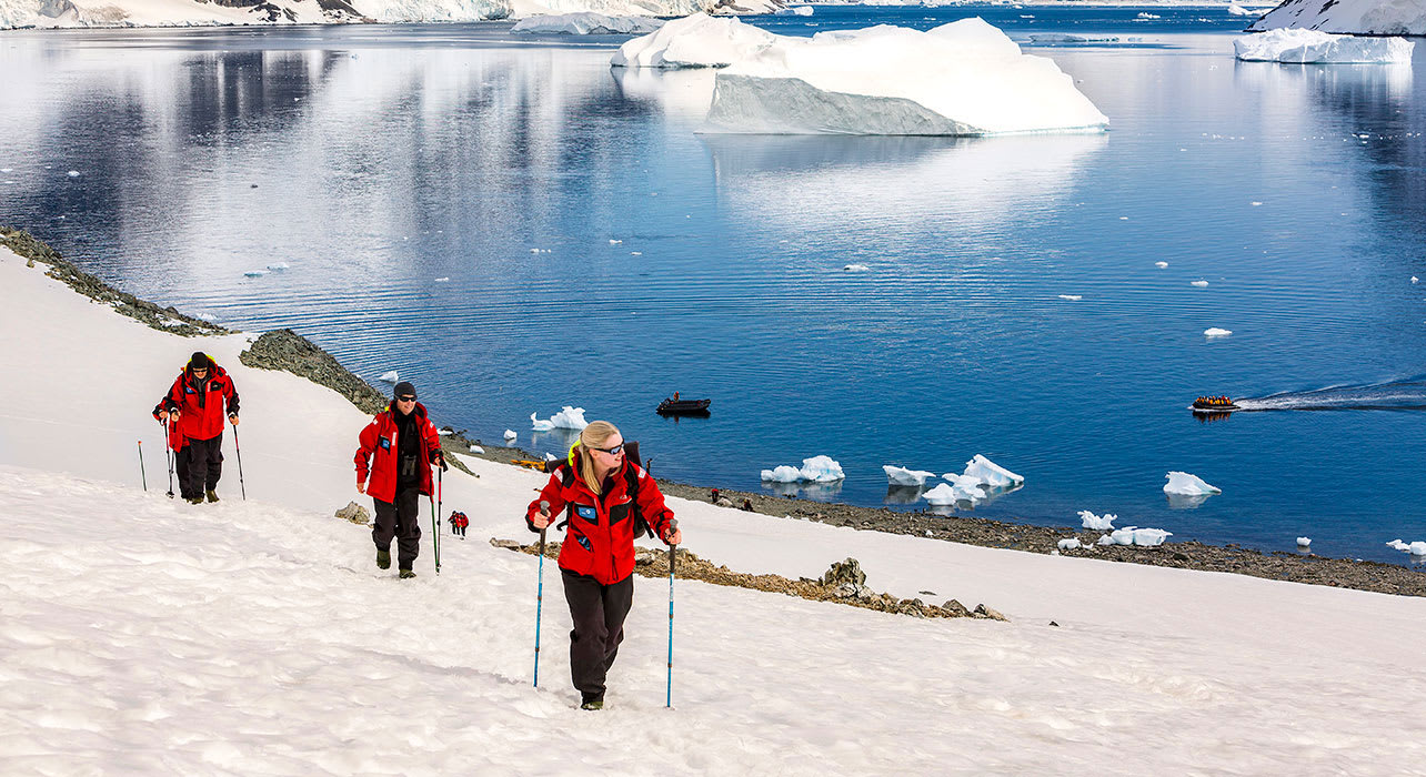 antarctica danco coast hikers exploring