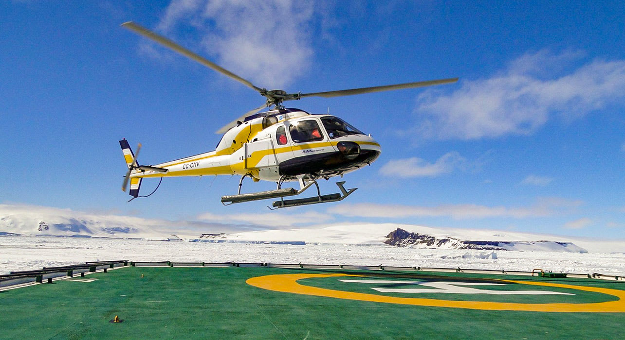 weddell sea antarctica helicopter taking off