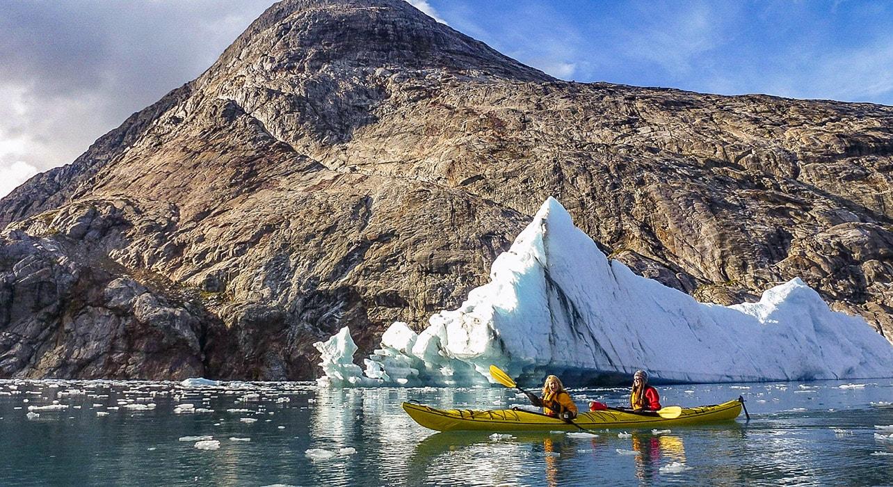 2 slide greenland kayaking icebergs pano