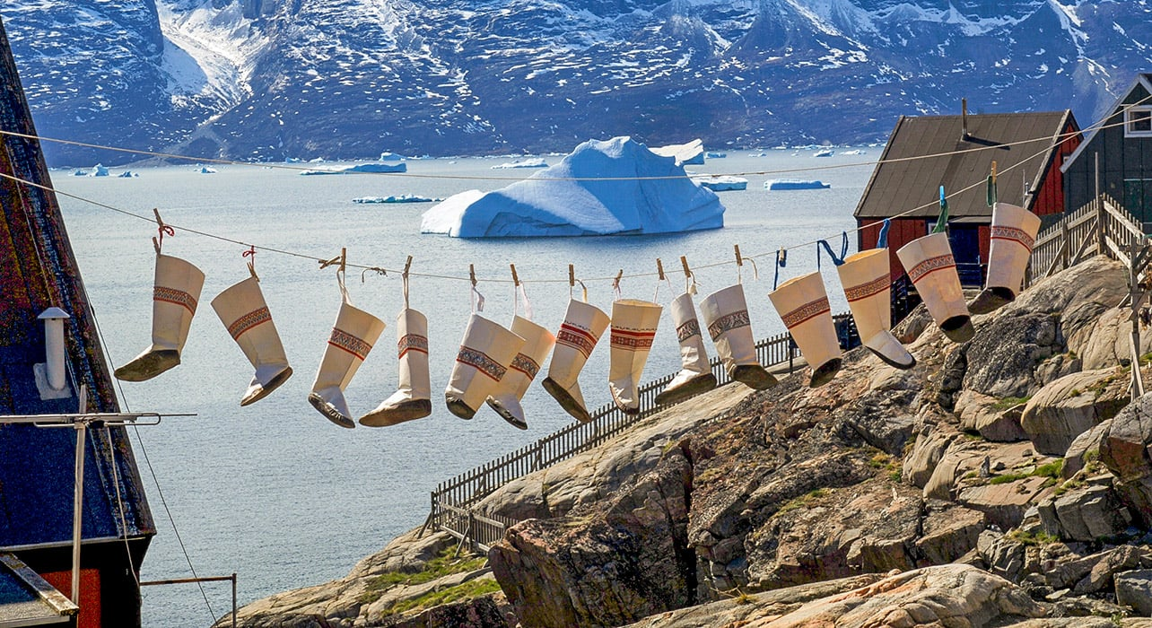 5 slide greenland traditional boots drying pano