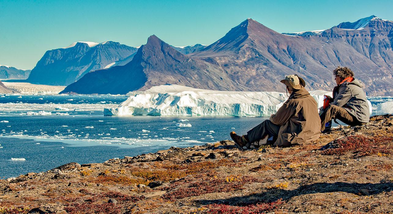 canada greenland travelers resting at karrat fjord
