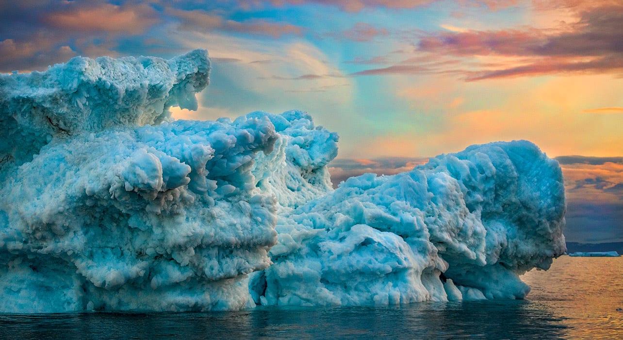 3 slide greenland disko bay iceberg sunset pano