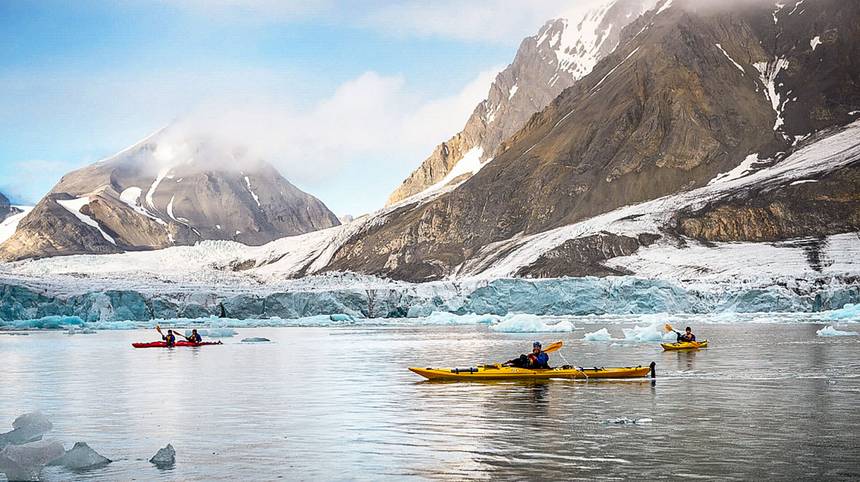 arctic west spitsbergen polar ice kayaking by glacier