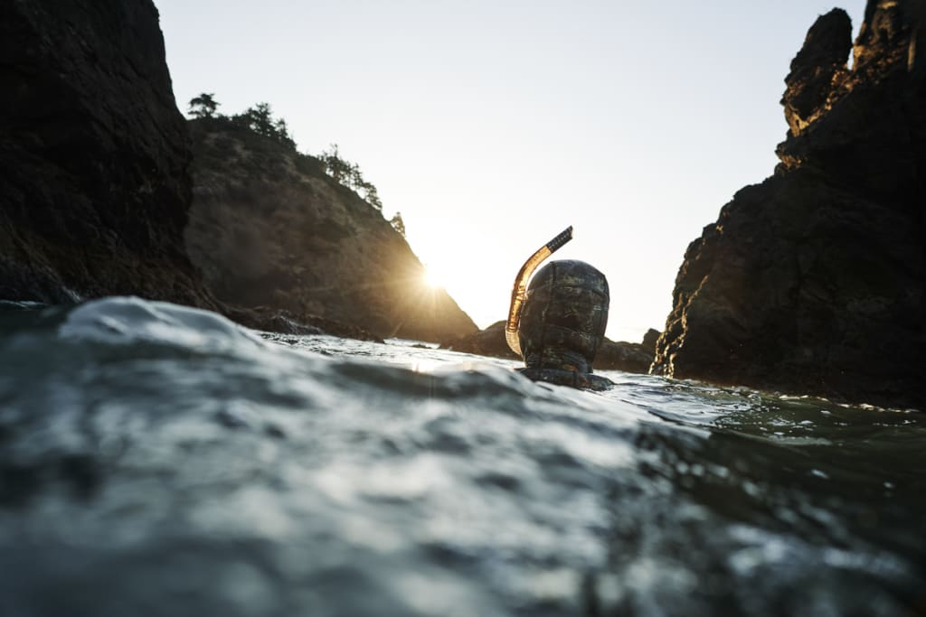 Tom Calvanese treading water in the ocean near Port Orford while snorkeling in a cove almost completely devoid of kelp.