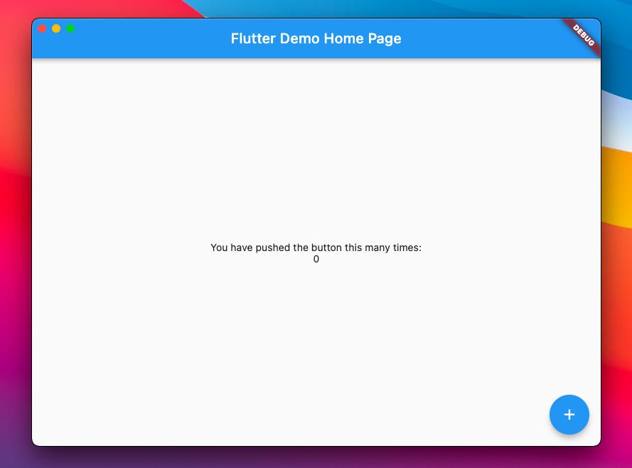 Default counter app in Flutter.