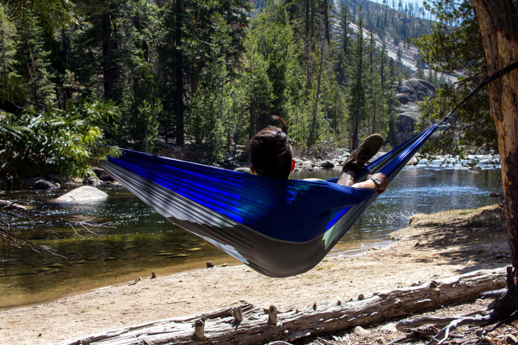 taking a hammock break at the merced river