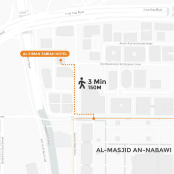 Graphical map of Hotel Al Eiman Taibah with 3 minutes walking distance to Masjid Nabawi with Tripfez Travel