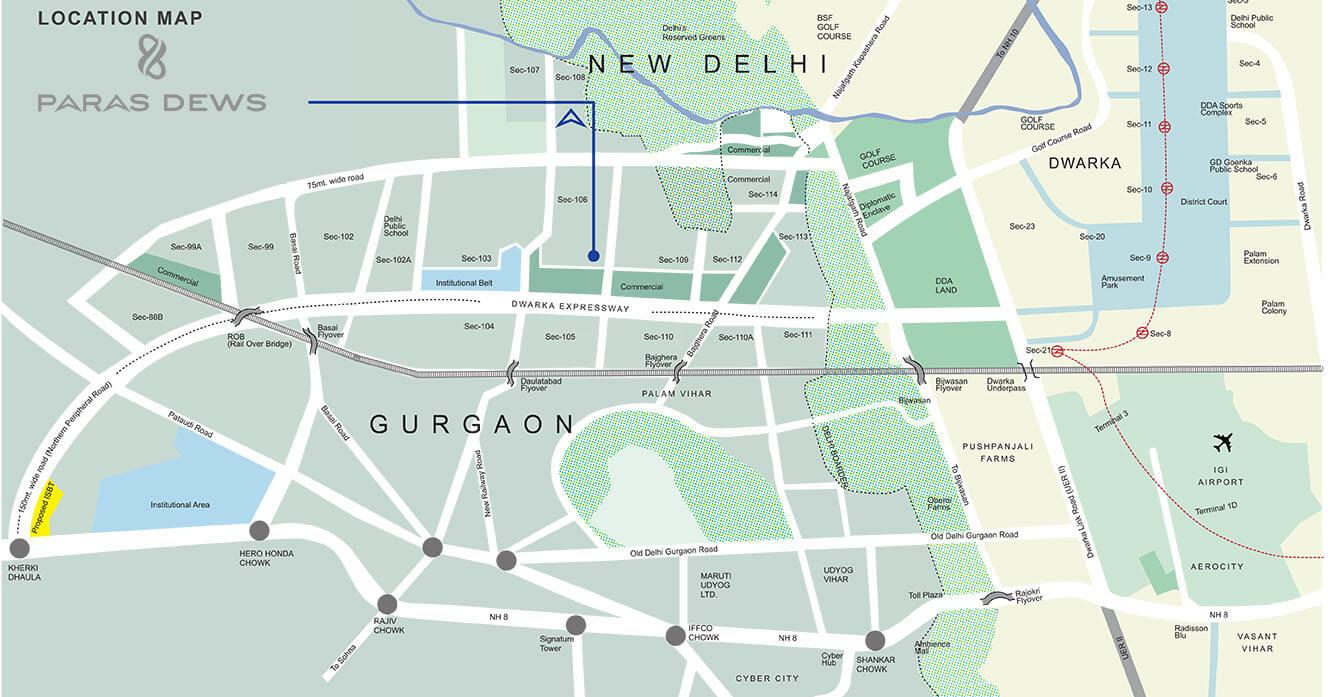 paras dews location map