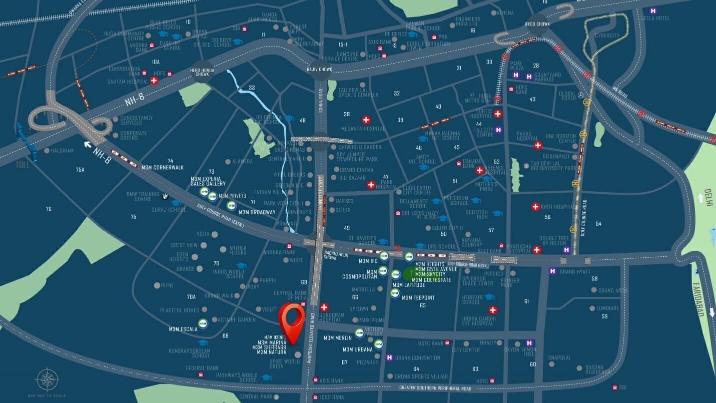 M3M FLORA 68 LOCATION MAP