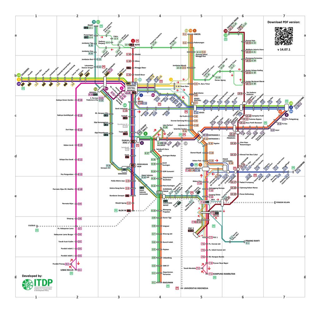 Карта линий автобусов Джакарты.
