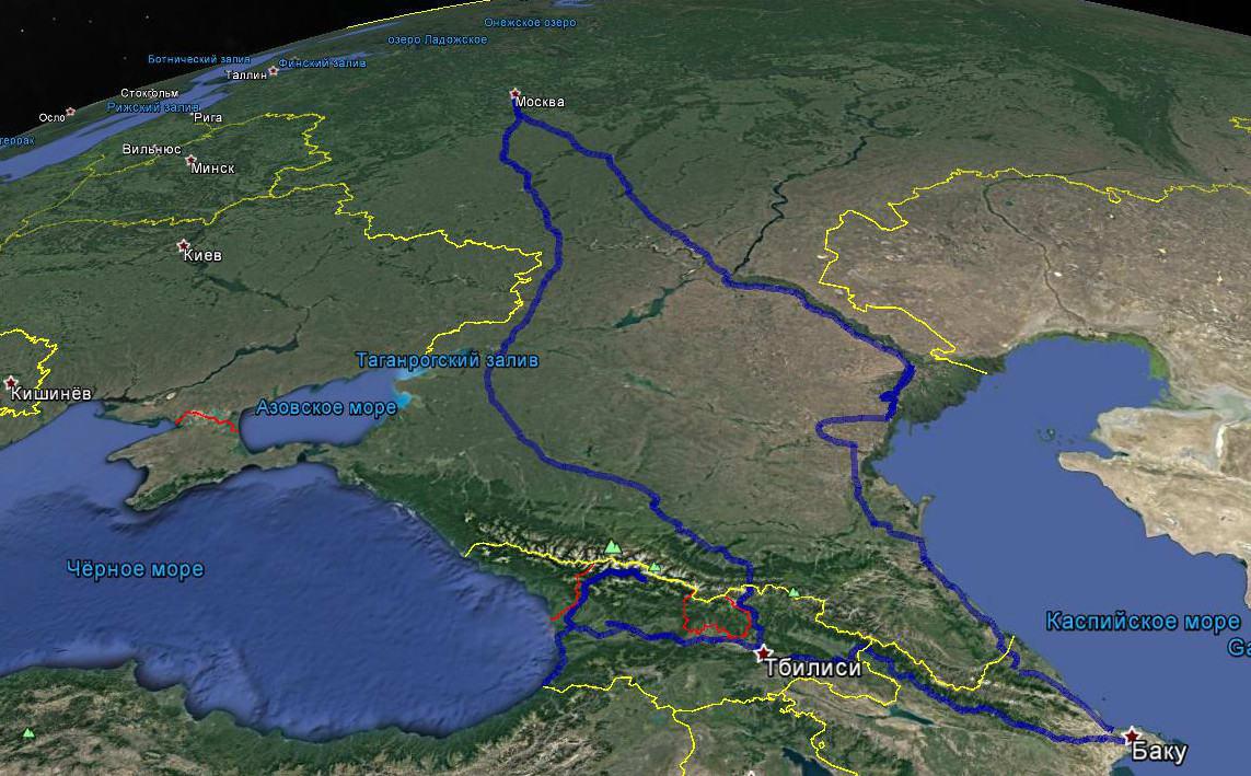 Карта путешествия Ветра в Грузию и Азербайджан