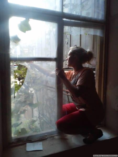 Виноград из окна дома