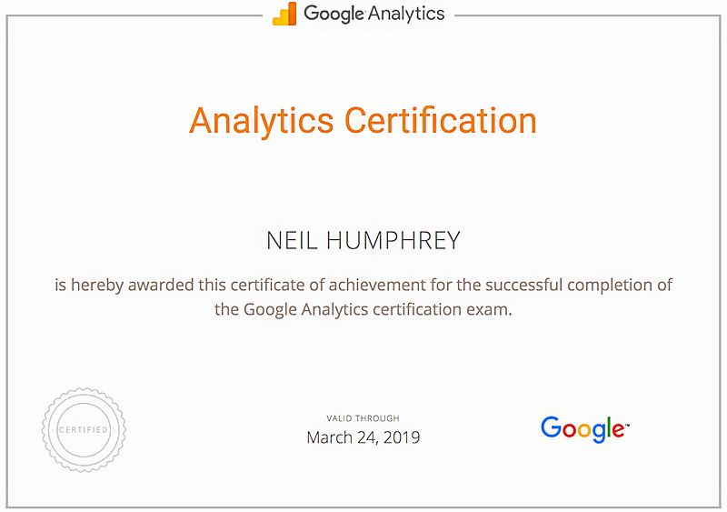 Neil Humphrey Omaha Google Analytics Certification.