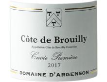 DOMAINE D ARGENSON COTE DE BROUILLY CUVEE PREMIERE ROUGE 2017