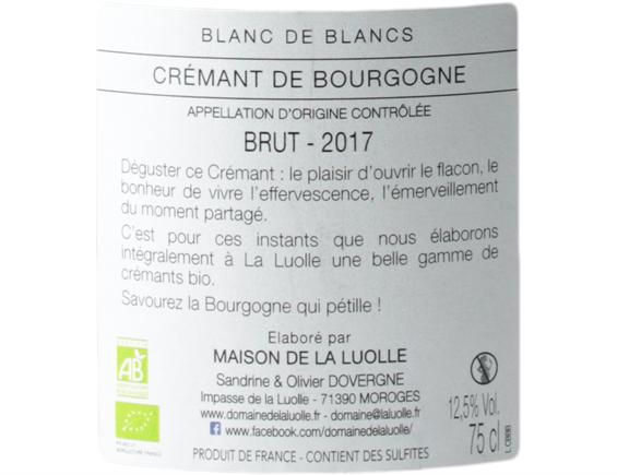 DOMAINE DE LA LUOLLE BLANC DE BLANCS CREMANT DE BOURGOGNE 2017