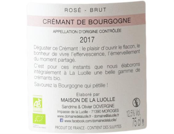 DOMAINE DE LA LUOLLE ROSE CREMANT DE BOURGOGNE ROSE 2017