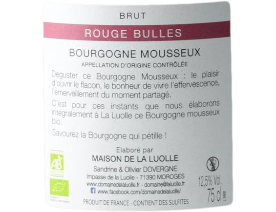 DOMAINE DE LA LUOLLE ROUGE BULLES BOURGOGNE MOUSSEUX 2017
