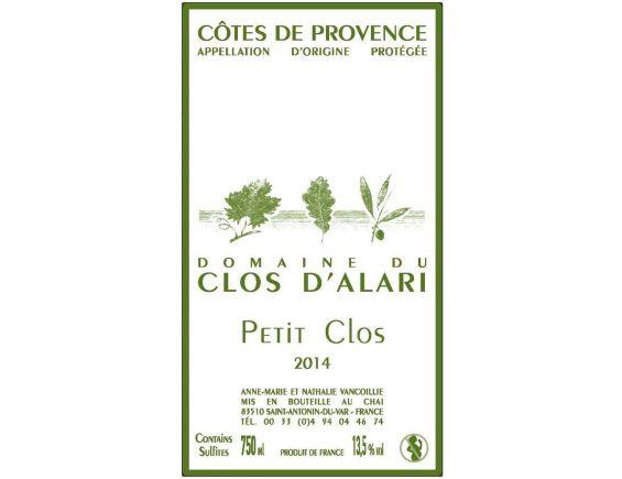 DOMAINE DU CLOS D'ALARI PETIT CLOS CÔTES DE PROVENCE ROUGE 2014