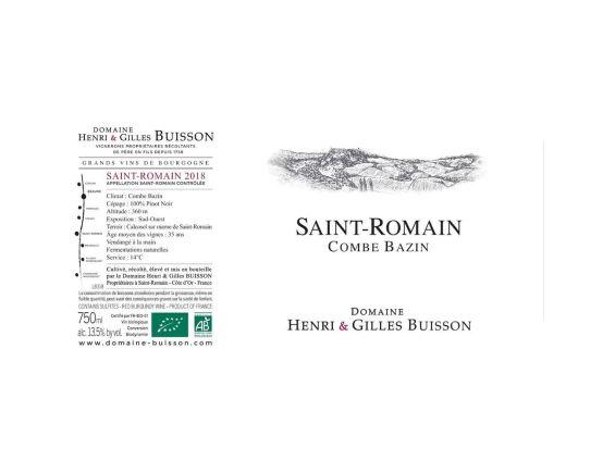 DOMAINE HENRI & GILLES BUISSON SAINT ROMAIN LA COMBE BAZIN ROUGE 2018